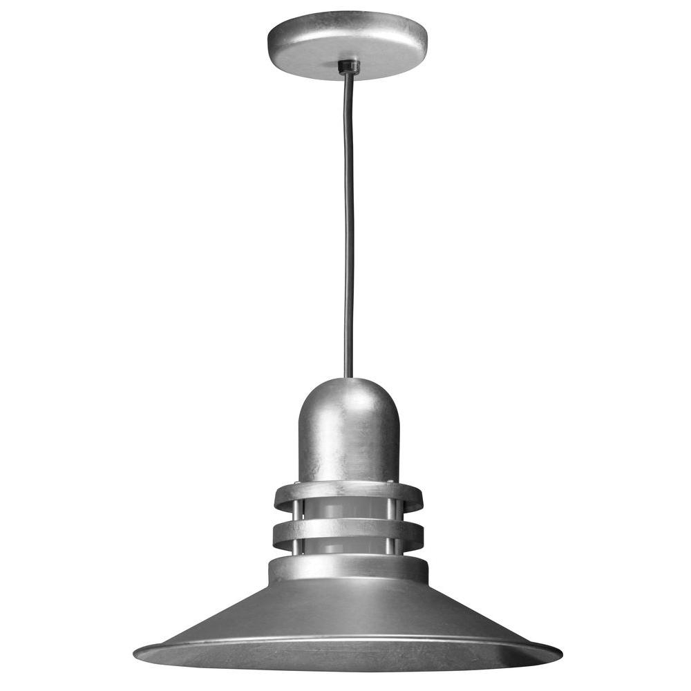 1-Light Galvanized Orbitor Shade Pendant with Frosted Glass and Wire Guard