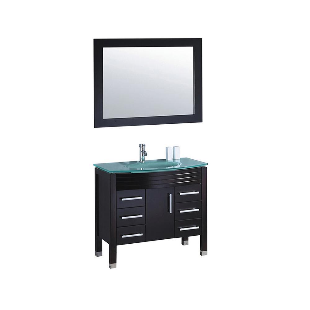 Figi 36 in. W x 21 in. D x 36 in. H Vanity in Espresso with Glass Vanity Top in Aqua with Aqua Basin and Mirror