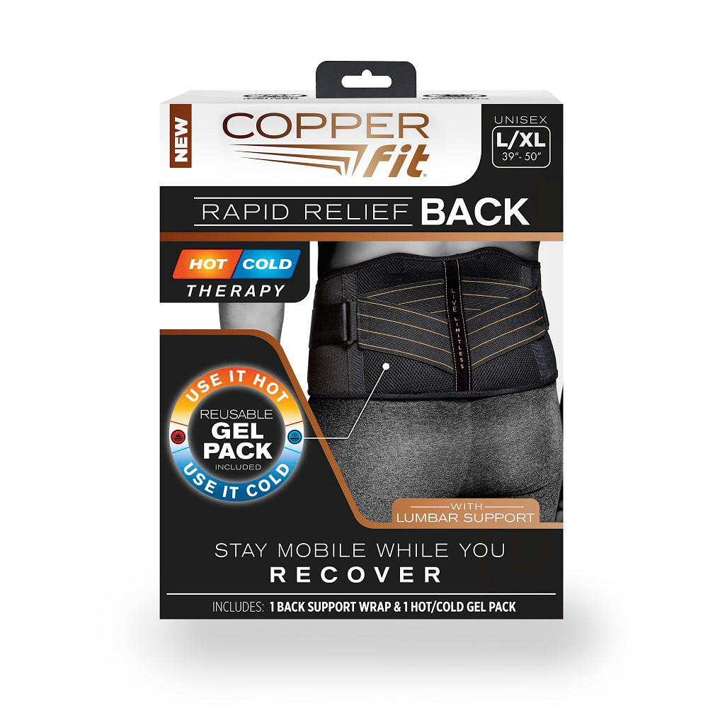 76e5a875e1 COPPER FIT Black Large/X-Large Copper Infused Adjustable Back Support Wrap  with Gel
