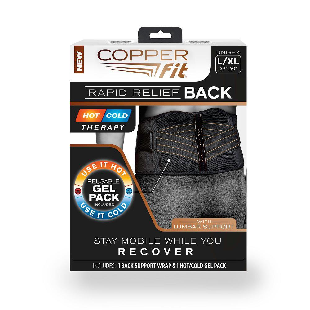 bd4d81328fb Black Large X-Large Copper Infused Adjustable Back Support Wrap with Gel  Pack
