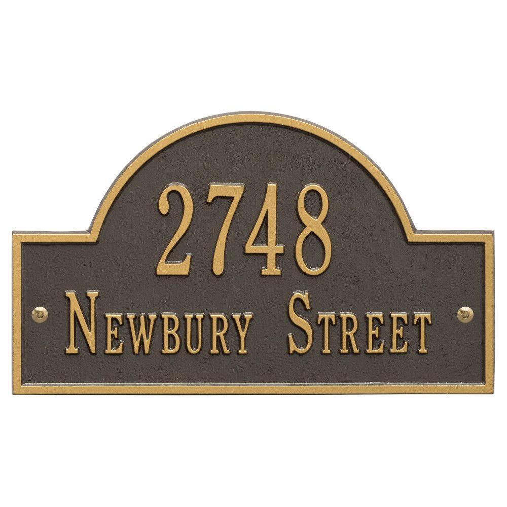 Arch Marker Standard Bronze/Gold Wall 2-Line Address Plaque