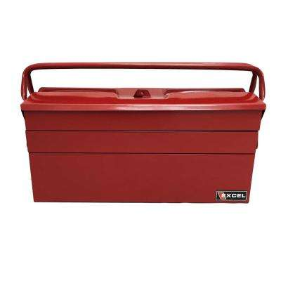 19.5 in. W x 7.9 in. D x 11.4 in. H Cantilever Portable Steel Tool Box, Red