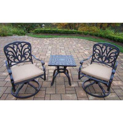 Cast Aluminum 3-Piece Square Patio Bistro Set with SpunPoly Beige Cushions