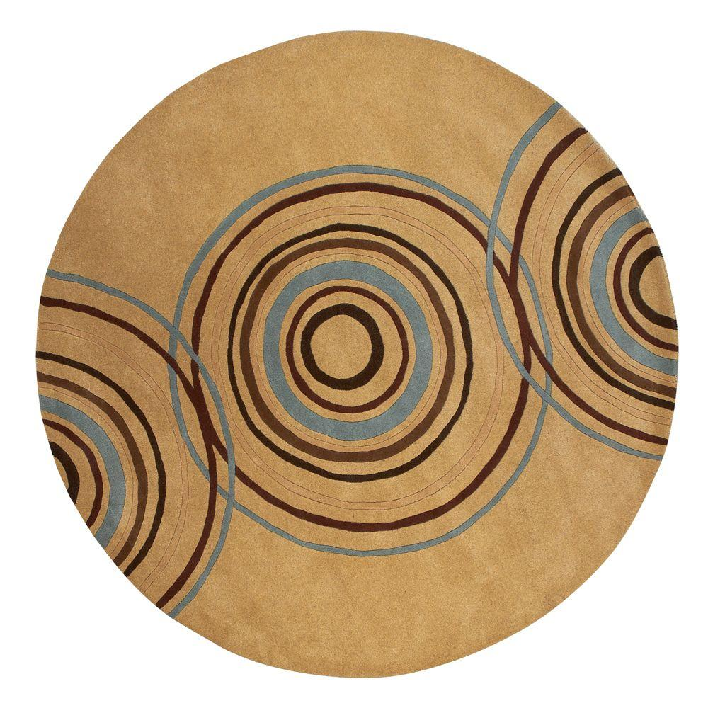 Home Decorators Collection Revolution Beige 8 ft. x 8 ft. Round Area Rug