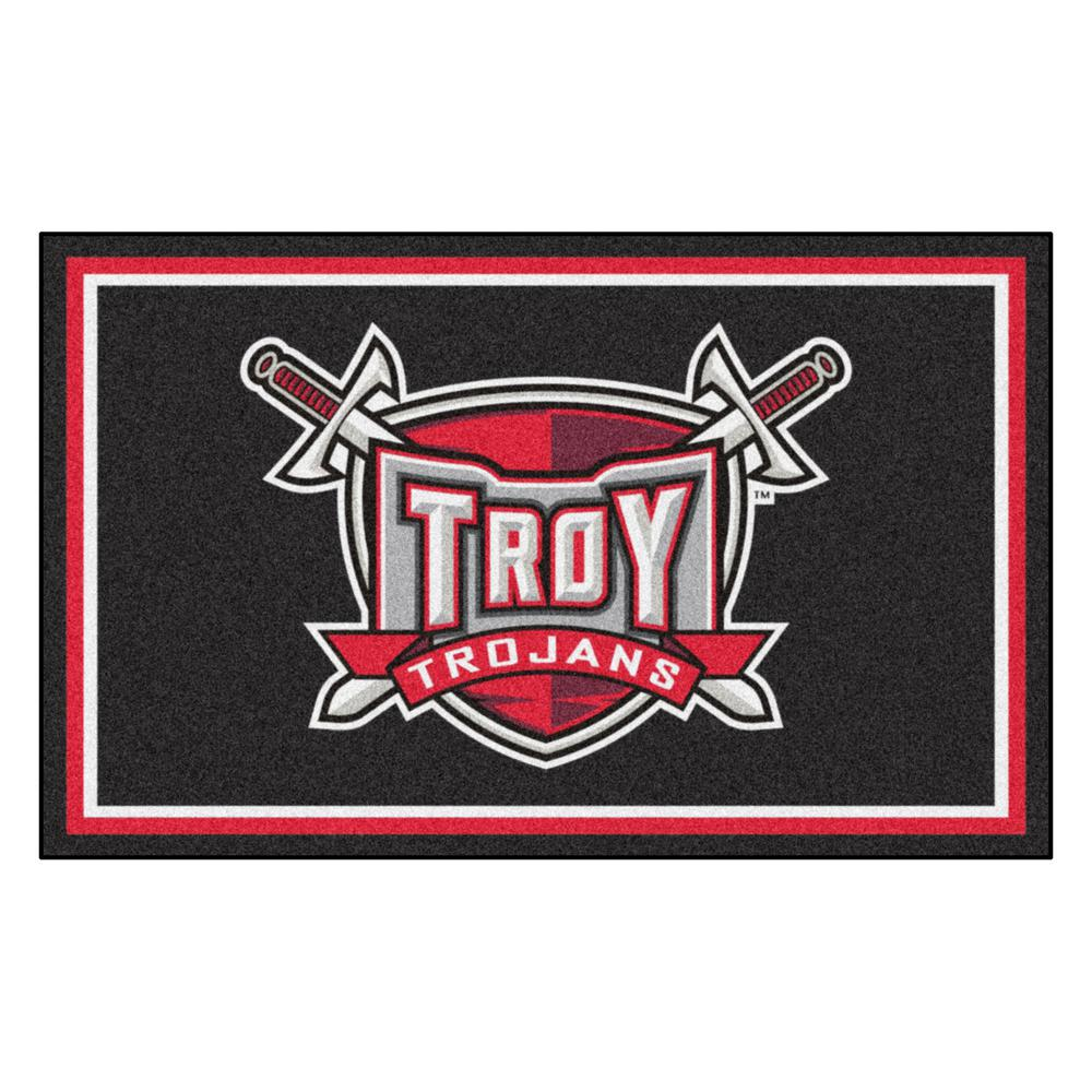 FANMATS NCAA - Troy University Black 4 ft. x 6 ft. Area Rug