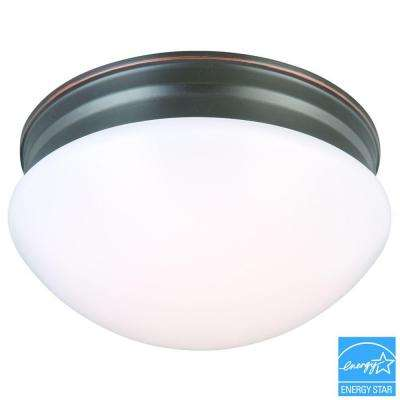 9 in. 60-Watt Equivalent Oil-Rubbed Bronze Integrated LED Mushroom Flushmount with White Acrylic Shade