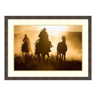 """Cowboys herding Horses at dusk, Oregon"" by Konrad Wothe Framed Wall Art"