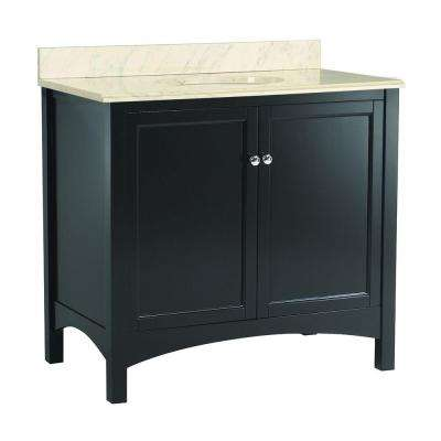 Haven 37 in. W x 22 in. D Vanity in Espresso with Vanity Top and Stone Effects in Cascade