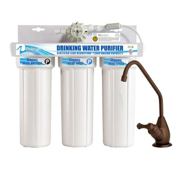 Pelican Water Drinking Water Purifier Dispenser Filtration System with Oil Rubbed Bronze Faucet
