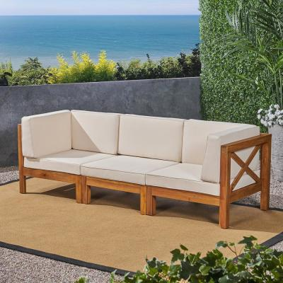 Brava Teak Brown 3-Piece Wood Outdoor Couch with Beige Cushions