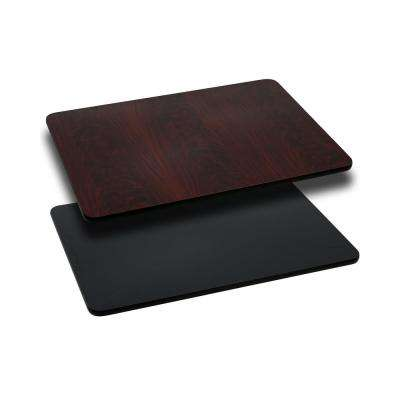 24 in. x 42 in. Rectangular Table Top with Black or Mahogany Reversible Laminate Top
