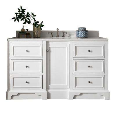 De Soto 60 in. W Single Vanity in Bright White with Soild Surface Vanity Top in Arctic Fall with White Basin