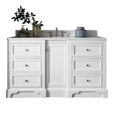 De Soto 60 in. W Single Bath Vanity in Bright White with Soild Surface Vanity Top in Arctic Fall with White Basin