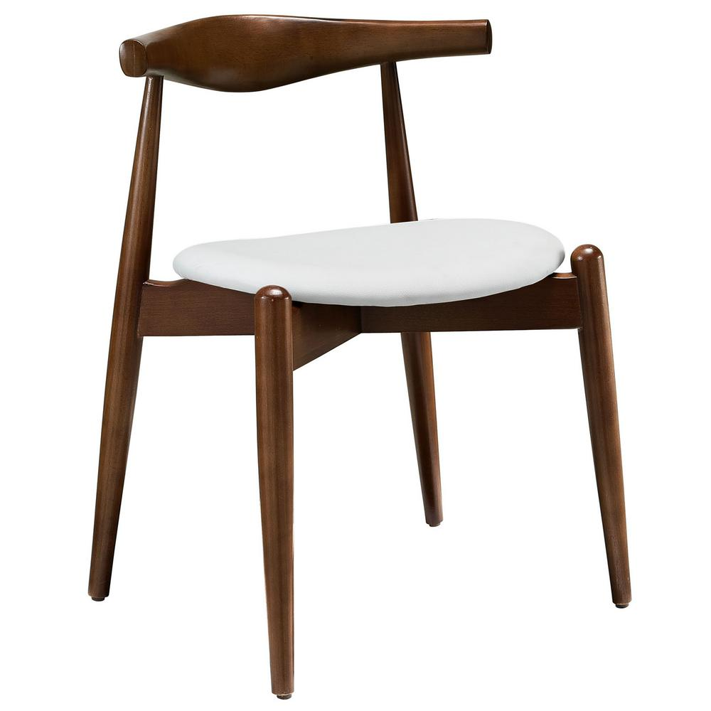 Stalwart Dark Walnut White Dining Side Chair