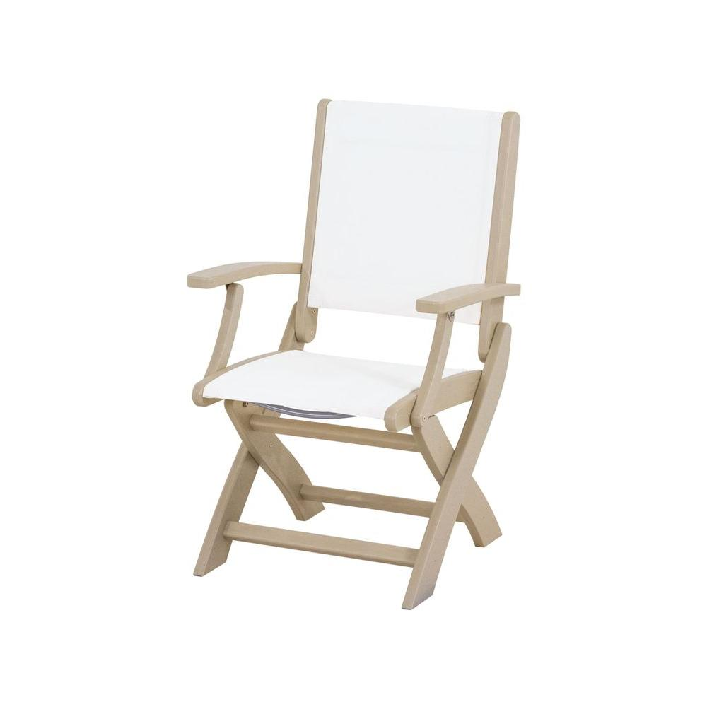 Polywood Coastal Sand Patio Folding Chair with White Sling