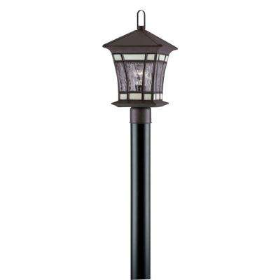1-Light Textured Rust Patina on Solid Brass Steel Post-Top Exterior Lantern with Water Glass and Tiffany Accents
