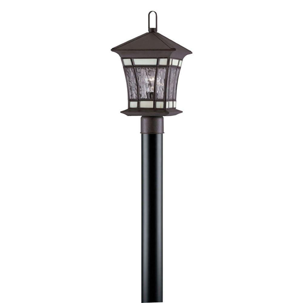 Westinghouse 1 Light Textured Rust Patina On Solid Brass Steel Post Top Exterior Lantern With