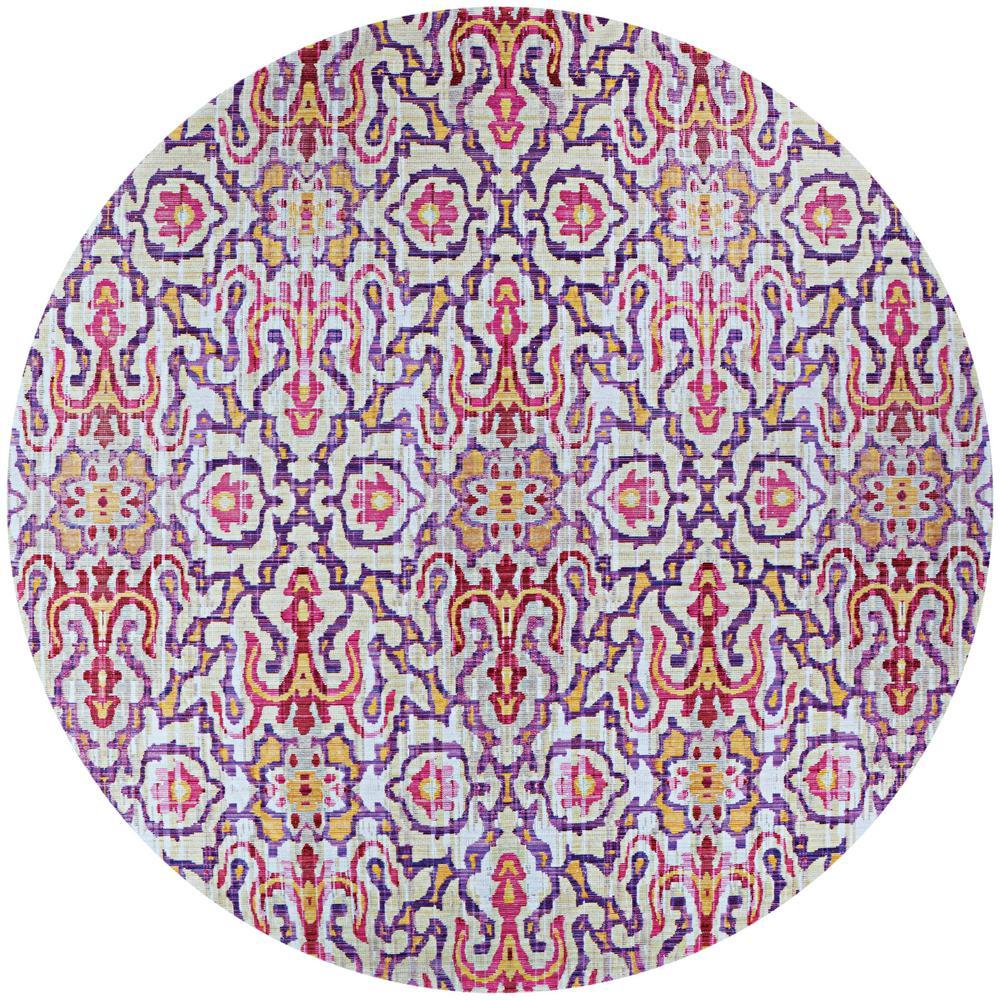Xanadu Puebla Violeta Indoor/Outdoor 7 ft. x 7 ft. Round Area Rug
