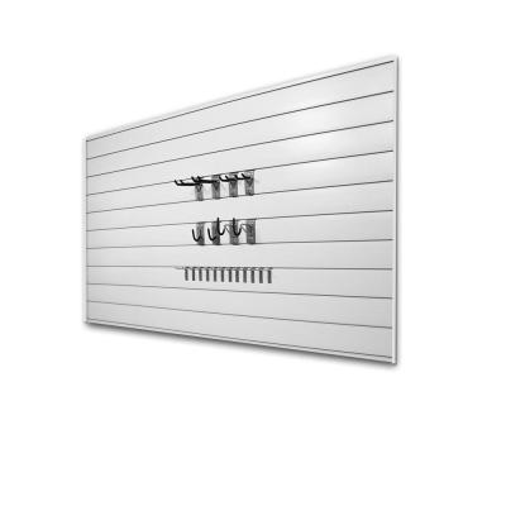 PVC Slatwall 8 ft. x 4 ft. White Hook Kit Bundle (30-Piece)