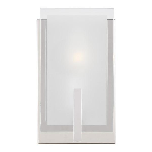 Syll 5 in. 1-Light Chrome Vanity Light with Clear Highlighted Satin Etched Glass Shades