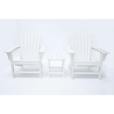 Hampton White Outdoor Patio Plastic Adirondack Chair and Table Set