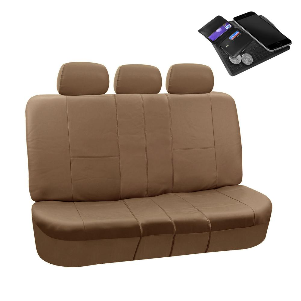 Fh Group Premium Pu Leather 52 In X 58 In X 1 In Split Bench Rear Seat Cover Dmpu002tan013 The Home Depot
