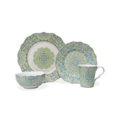 Lyria Teal 16-Piece Dinnerware Set