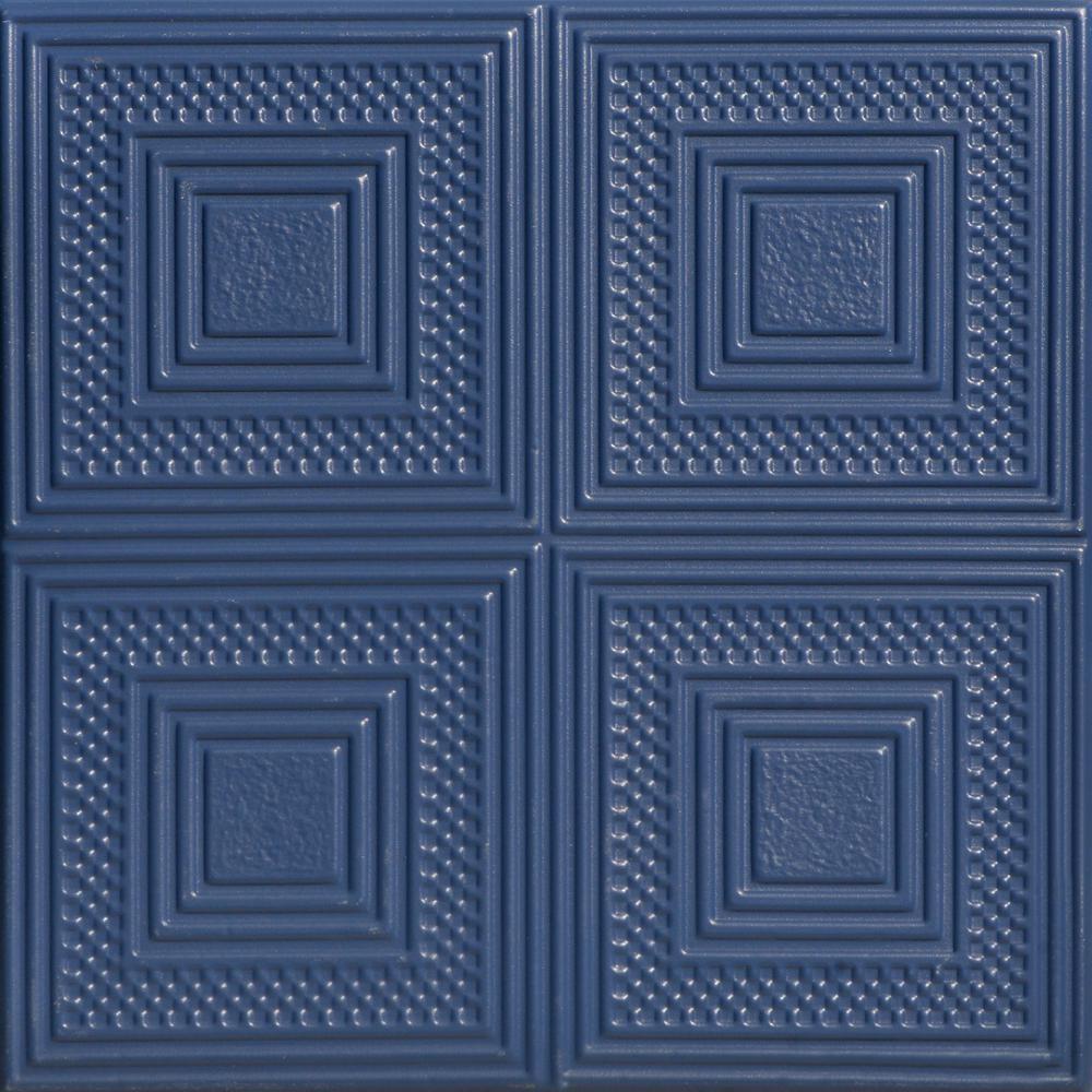 Nested Squares 1.6 ft. x 1.6 ft. Foam Glue-up Ceiling Tile in Van Deusen Blue