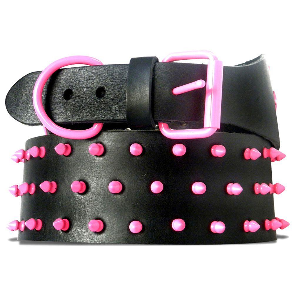 Platinum Pets 31 in. Black Genuine Leather Dog Collar in Pink Spikes