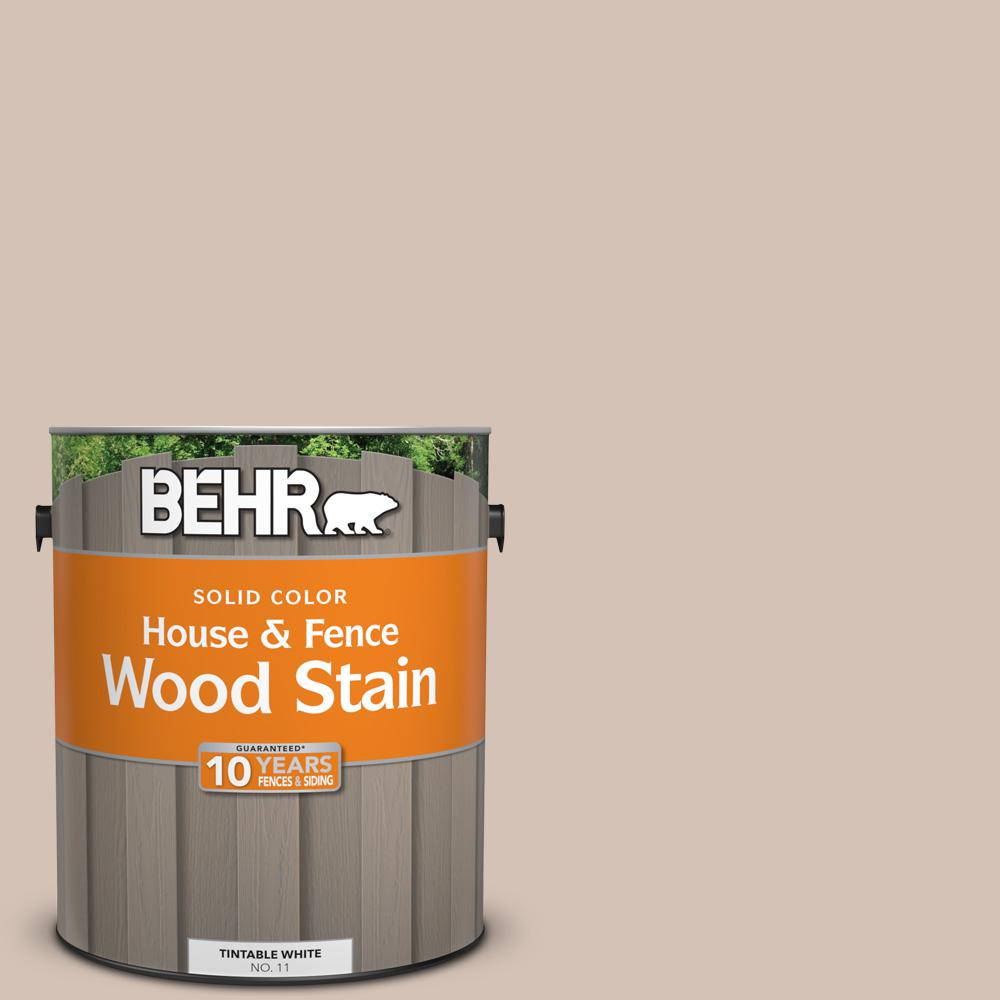 Taupe Exterior House Color Ideas: BEHR 1 Gal. #BIC-02 Hazy Taupe Solid Color House And Fence