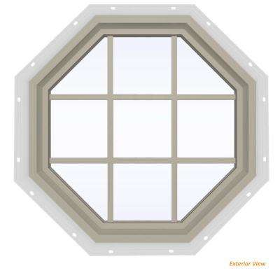 35.5 in. x 35.5 in. V-4500 Series Desert Sand Vinyl Fixed Octagon Geometric Window with Colonial Grids/Grilles