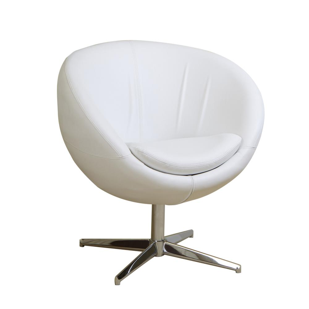 Le House Katrina White Leather Modern Roundback Chair