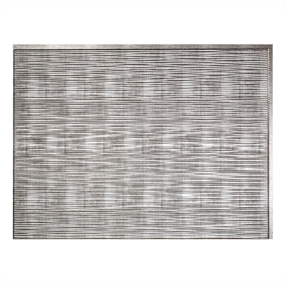 Fasade 24 in. x 18 in. Ripple PVC Decorative Backsplash Panel in Crosshatch Silver
