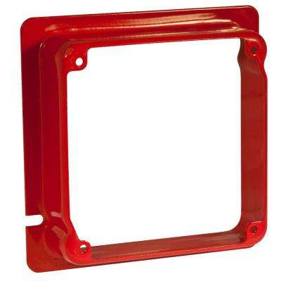 4-11/16 in. x 4 in. Square Adapter Ring, 1-1/4 in. Raised, Life Safety Red (12-Pack)