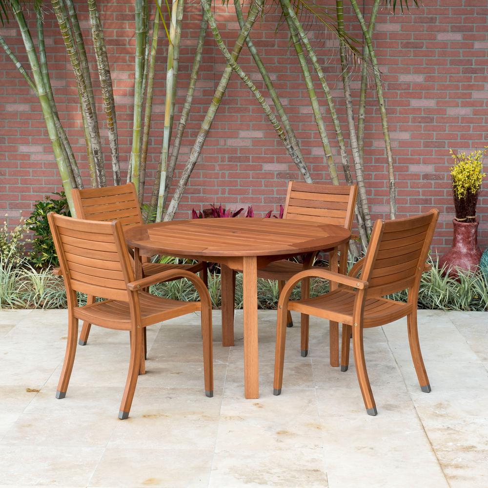 Arizona Eucalyptus Wood 5-Piece Round Patio Dining Set