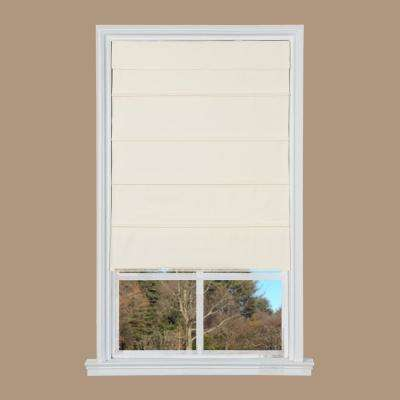Cream Cotton Canvas Cordless Roman Shade - 35 in. W x 64 in. L