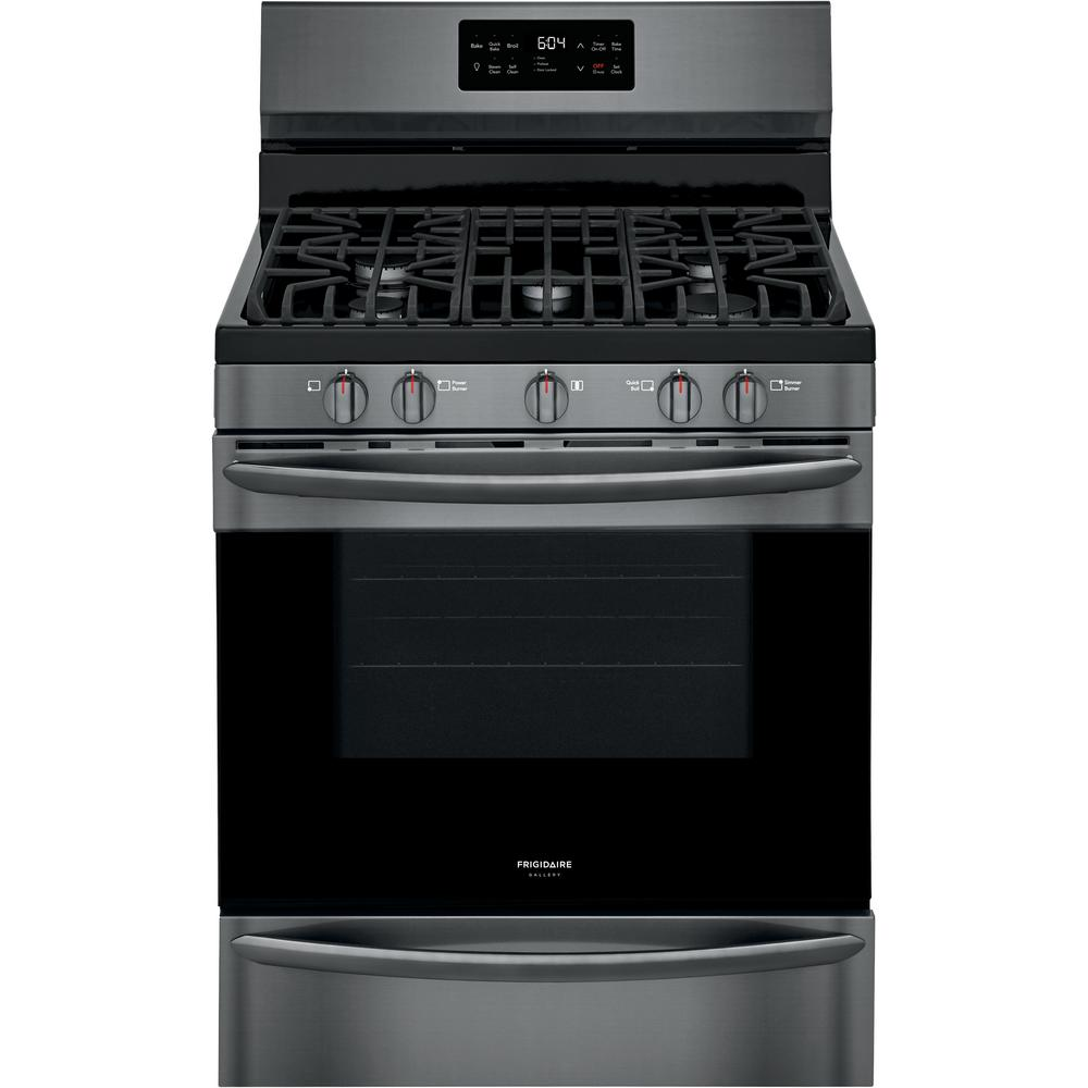 FRIGIDAIRE GALLERY 30 in. 5.0 cu. ft. Freestanding Gas Range with Steam Clean in Black Stainless Steel