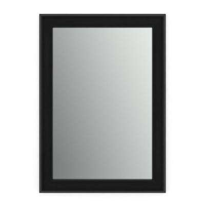 33 in. x 47 in. (L1) Rectangular Framed Mirror with Standard Glass and Easy-Cleat Float Mount Hardware in Matte Black