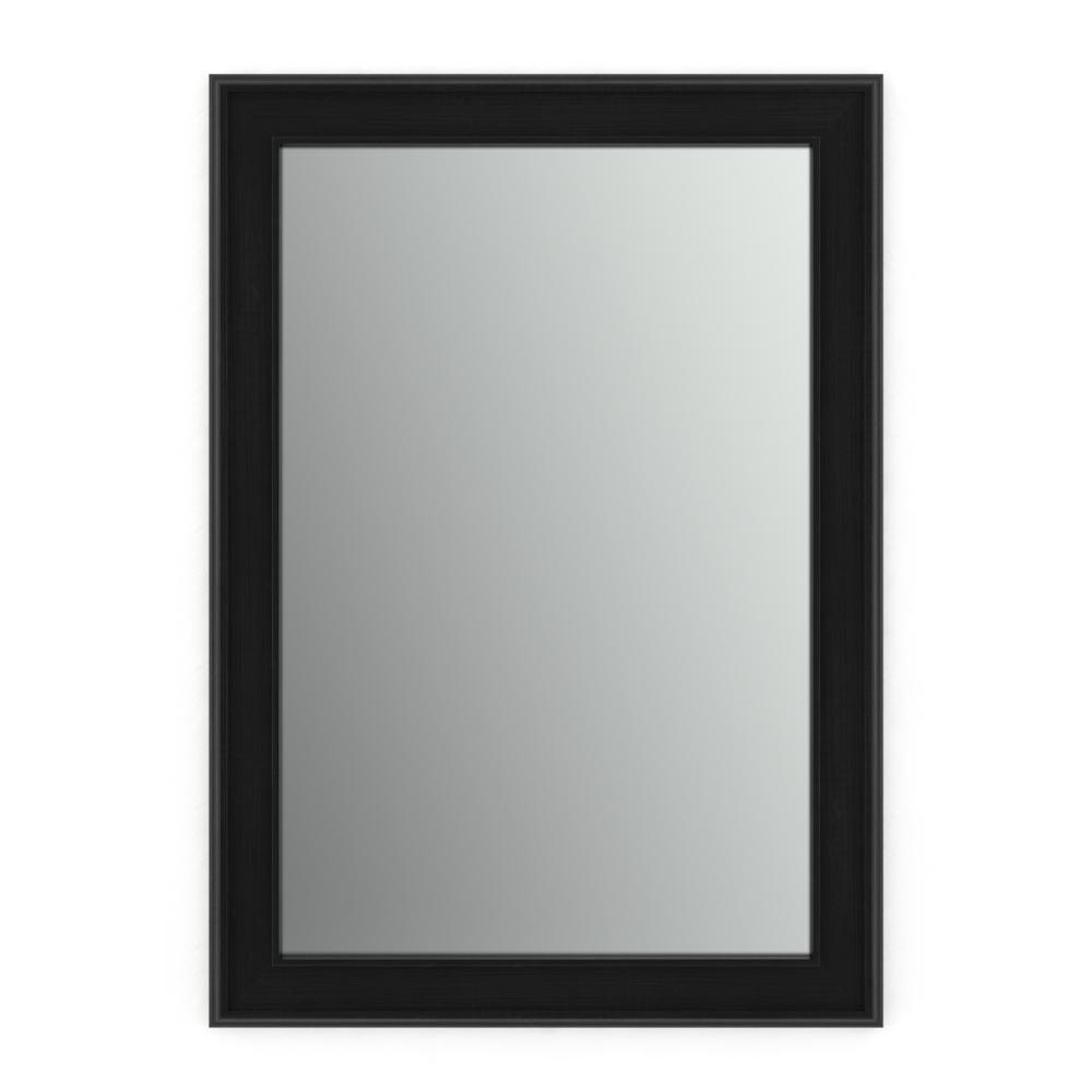 33 in. W x 47 in. H (L1) Framed Rectangular Standard Glass Bathroom Vanity Mirror in Matte Black