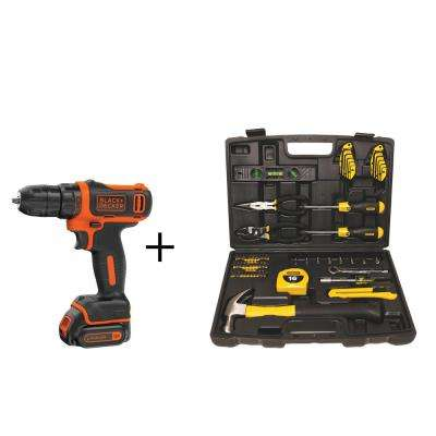 12-Volt MAX Lithium-Ion Cordless 3/8 in. Drill Driver w/ Bonus Homeowners Tool Set (65-Piece), Battery 1.5Ah and Charger