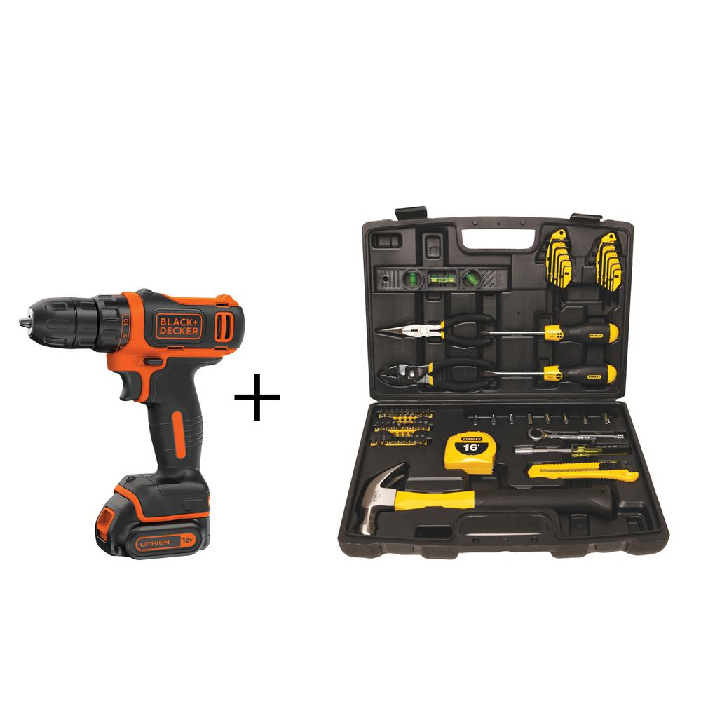 BLACK+DECKER 12-Volt MAX Lithium-Ion Cordless 3/8 in. Drill Driver w/ Bonus Homeowners Tool Set (65-Piece), Battery 1.5Ah and Charger
