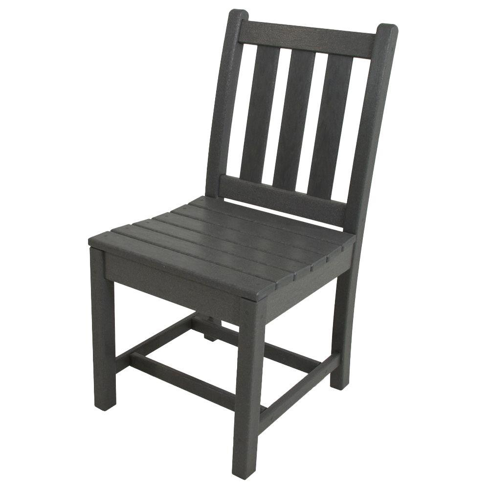 POLYWOOD Traditional Garden Slate Grey All-Weather Plastic Outdoor Dining Side Chair