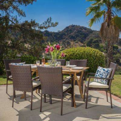 Corle 1 Teak Finish and Brown 7-Piece Wood and Wicker Outdoor Dining Set