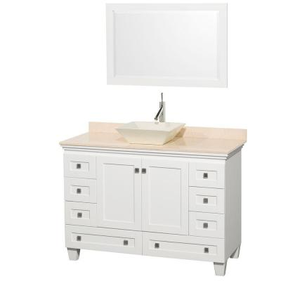 Acclaim 48 in. W Vanity in White with Marble Vanity Top in Ivory, Bone Sink and Mirror
