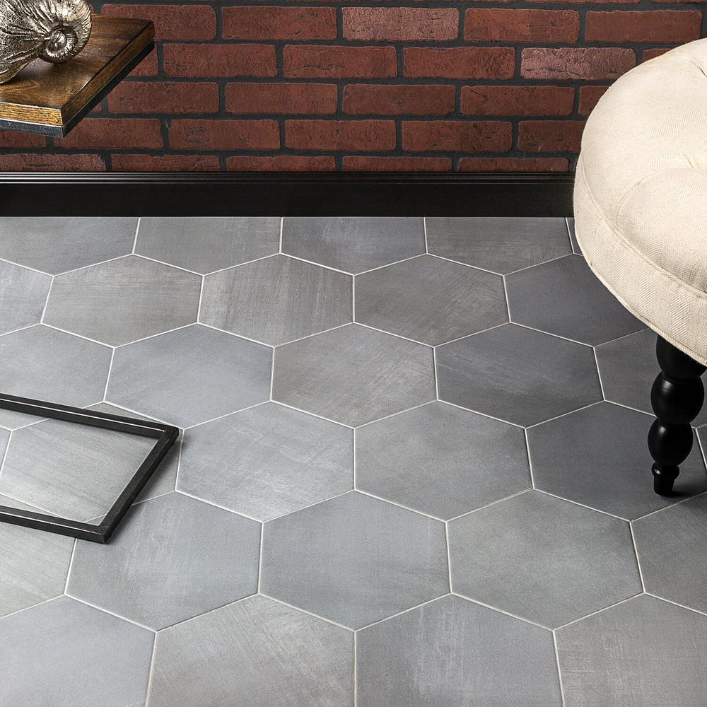 Ivy Hill Tile Hexagon Gray 9 875 In X 11 375 In X 10mm Matte Porcelain Floor And Wall Tile 18 Pieces 10 76 Sq Ft Box Ext3rd101074 The Home Depot