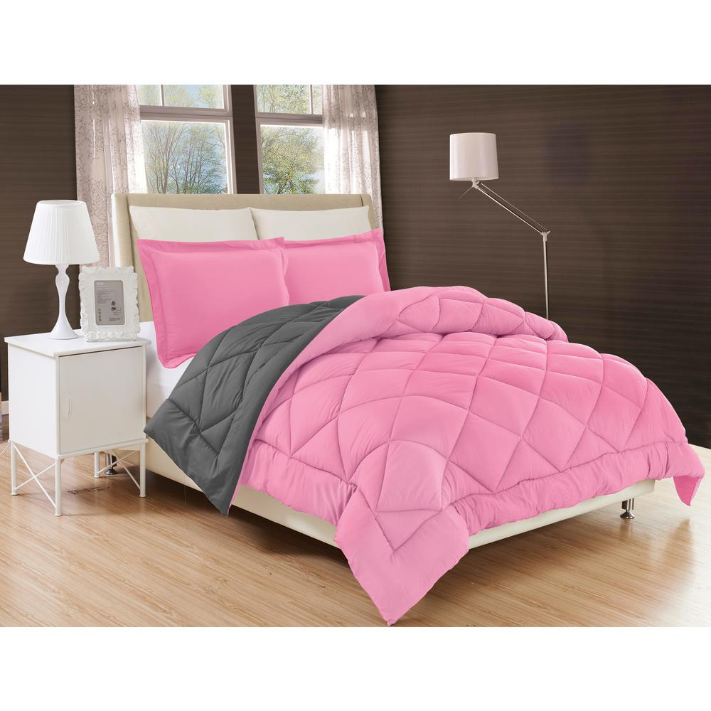 Down Alternative Pink and Gray Reversible King Comforter Set