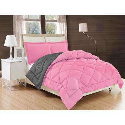 Down Alternative Pink and Gray Reversible Full/Queen Comforter Set