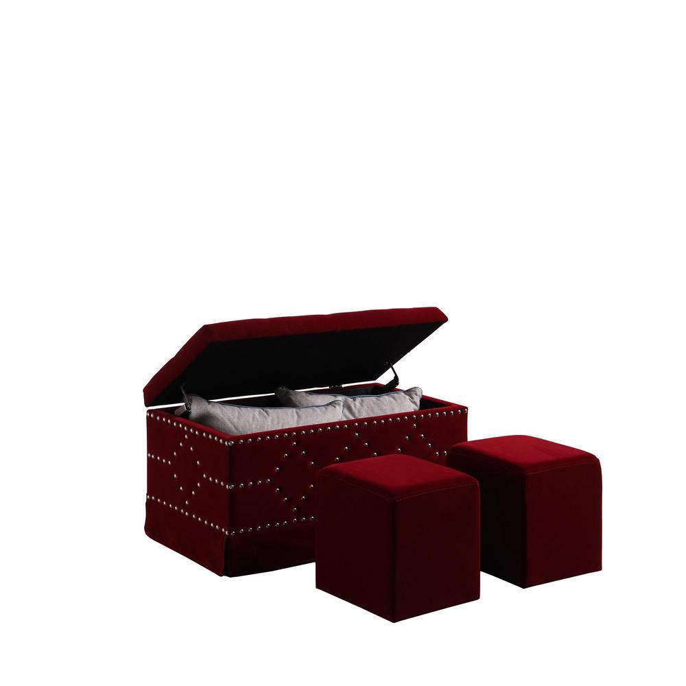 Red Velvet Chrome Nailhead Studs Tufted Storage Bench HB4779 ...