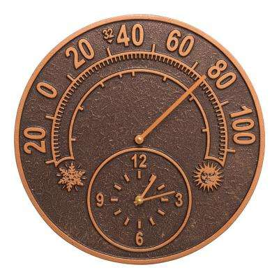14 in. Solstice Indoor Outdoor Wall Clock and Thermometer