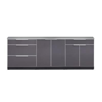 Slate Gray 4-Piece 96 in. W x 36.5 in. H x 24 in. D Outdoor Kitchen Cabinet Set